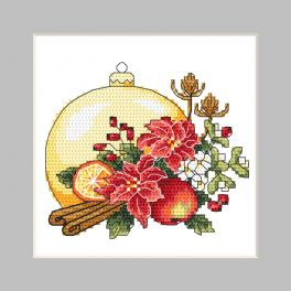 GU 10344 Wzór do haftu drukowany - Kartka - Bombka ze świąteczną kompozycją