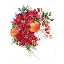 GC 10345 Wzór do haftu drukowany - Bożonarodzeniowa kompozycja