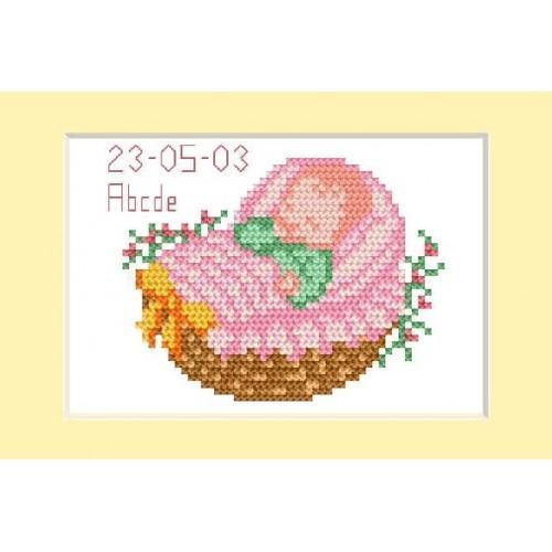 Wzór graficzny - Dzień narodzin - różowy - Haft krzyżykowy