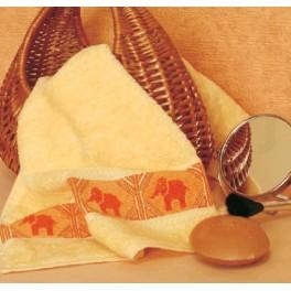 GC 4573 Wzór graficzny - Ręcznik ze słonikami - Haft krzyżykowy