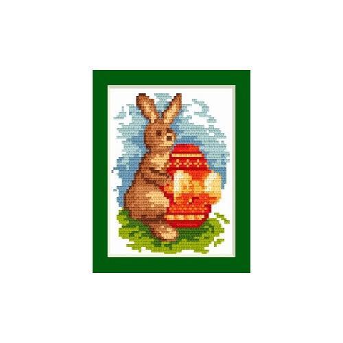 Wzór graficzny - Kartka wielkanocna - Zajączek z pisanką - Haft krzyżykowy