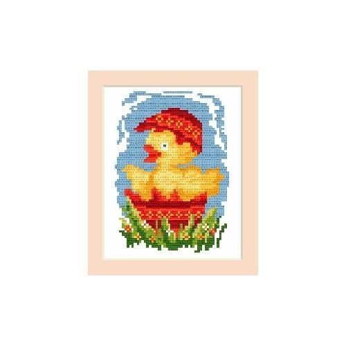 Wzór graficzny - Kartka wielkanocna - Kurczaczek - Haft krzyżykowy