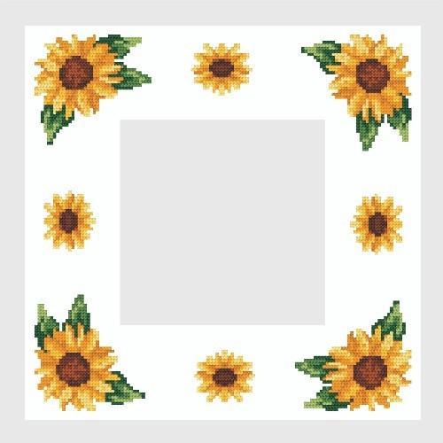 Wzór graficzny - Serwetka ze słonecznikami - Haft krzyżykowy
