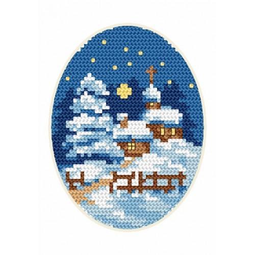 Wzór graficzny - Kartka świąteczna - Kościółek - Haft krzyżykowy