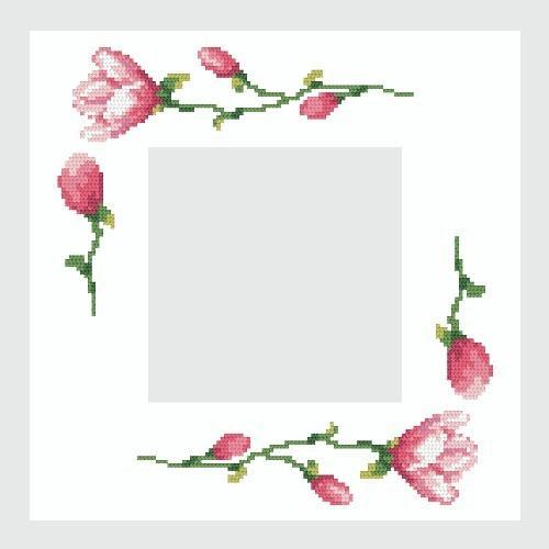 Wzór graficzny - Serwetka z magnoliami - Haft krzyżykowy