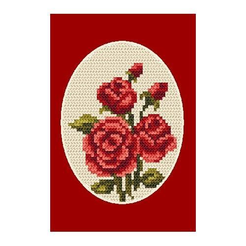 Wzór graficzny - Kartka okolicznościowa- Róże - Haft krzyżykowy