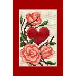 Wzór graficzny - Kartka okolicznościowa- Serce z różami - Haft krzyżykowy