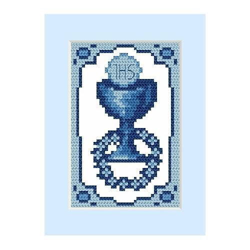 Wzór graficzny - Kartka komunijna - Haft krzyżykowy