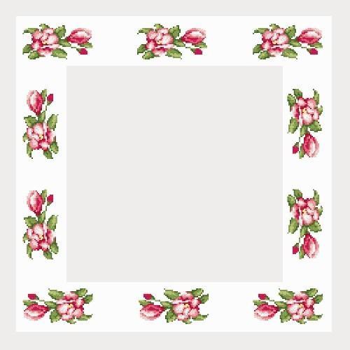 Wzór graficzny - Obrus z magnoliami - Haft krzyżykowy
