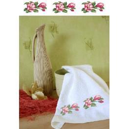 Wzór graficzny - Ręcznik z magnoliami - Haft krzyżykowy