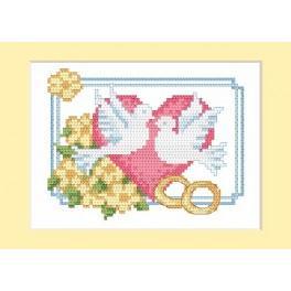 GC 4669-01 Wzór graficzny - Kartka ślubna - Gołąbki - B. Sikora-Małyjurek - Haft krzyżykowy