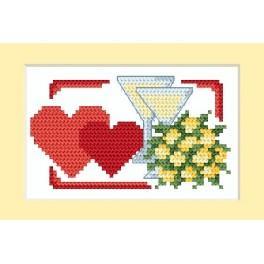 GC 4670-01 Wzór graficzny - Kartka ślubna - Dwa serca - B. Sikora-Małyjurek - Haft krzyżykowy