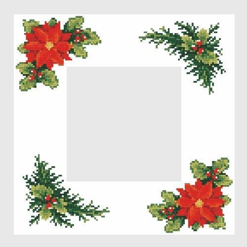 Wzór graficzny - Serwetka świąteczna - B. Sikora-Małyjurek - Haft krzyżykowy