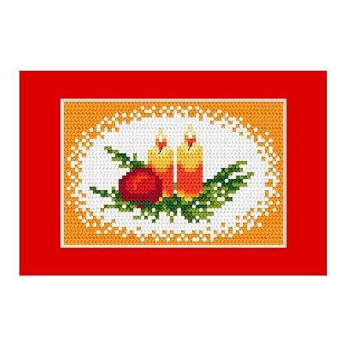 Wzór graficzny - Kartka świąteczna - Świeczki - Haft krzyżykowy