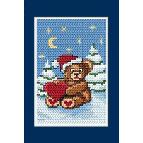 Wzór graficzny - Kartka świąteczna - Misiek - Haft krzyżykowy