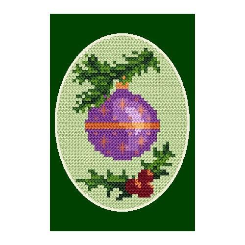 Wzór graficzny - Kartka świąteczna - Bombka - Haft krzyżykowy