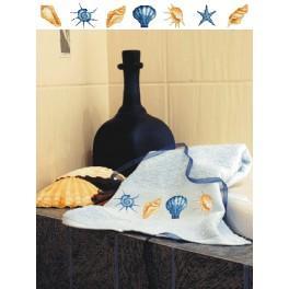 GC 4818 Wzór graficzny - Ręcznik z muszelkami - Haft krzyżykowy