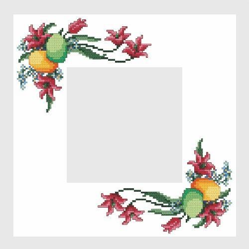 Wzór graficzny - Serwetka wielkanocna - Haft krzyżykowy