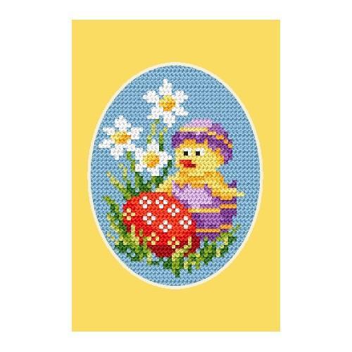Wzór graficzny - Kartka wielkanocna - Kurczaczek i pisanka - Haft krzyżykowy