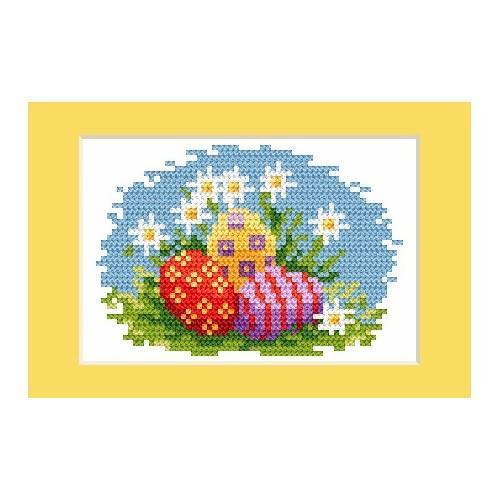 Wzór graficzny - Kartka wielkanocna - Kolorowe pisanki - Haft krzyżykowy