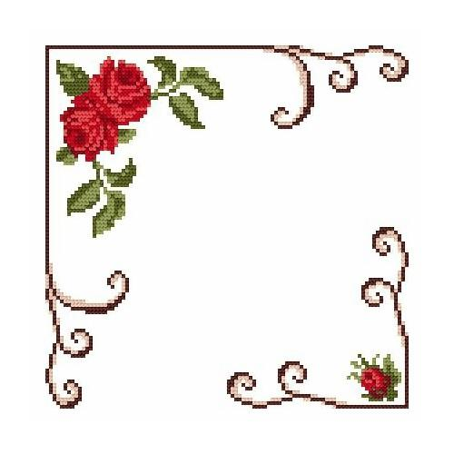Wzór graficzny - Serwetka mała - Różyczki - Haft krzyżykowy