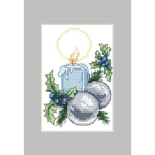 Wzór graficzny - Kartka świąteczna - Świeczka - Haft krzyżykowy