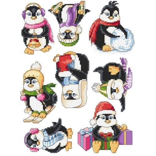 Wzór graficzny - Wesołe pingwinki - Haft krzyżykowy