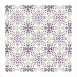 Wzór graficzny - Obrus z fiołkami - Haft krzyżykowy