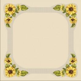 Wzór graficzny - Obrus ze słonecznikami - Haft krzyżykowy