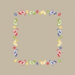 Wzór graficzny - Serwetka z kurkami - Haft krzyżykowy