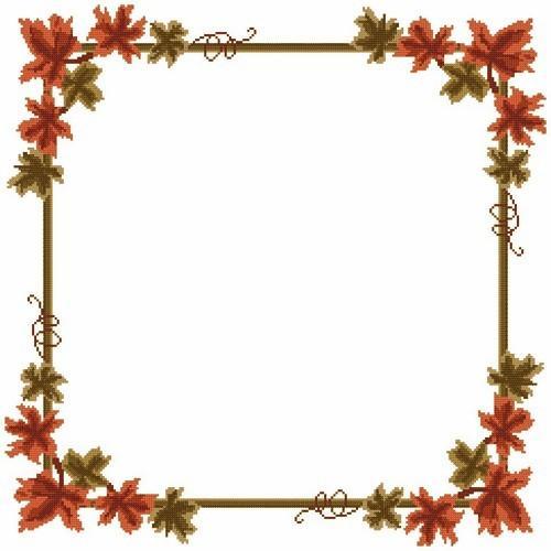 Wzór graficzny - Serwetka - Jesienne liście - Haft krzyżykowy