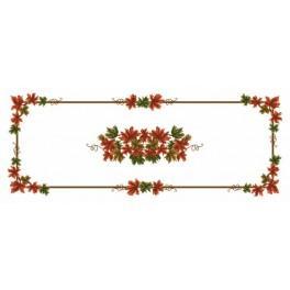 Wzór graficzny - Bieżnik - Jesienne liście - Haft krzyżykowy