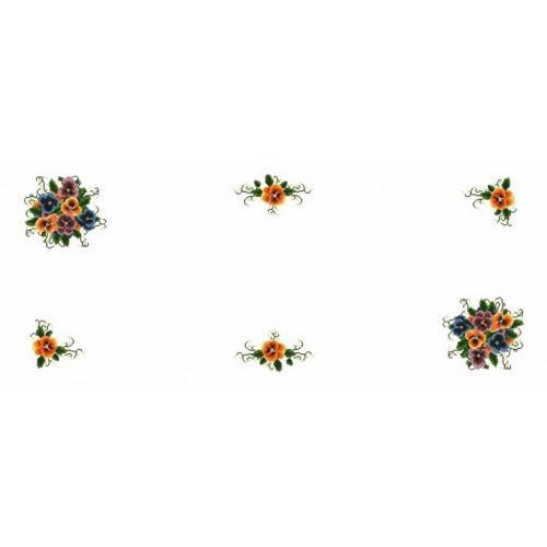 Wzór graficzny - Bieżnik z bratkami - Haft krzyżykowy