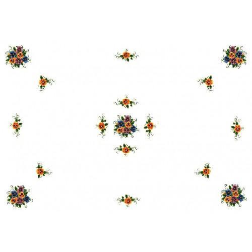 Wzór graficzny - Obrus z bratkami - Haft krzyżykowy