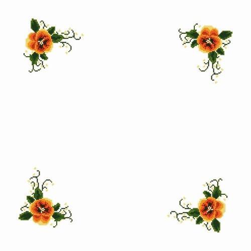 Wzór graficzny - Serwetka z bratkami - Haft krzyżykowy