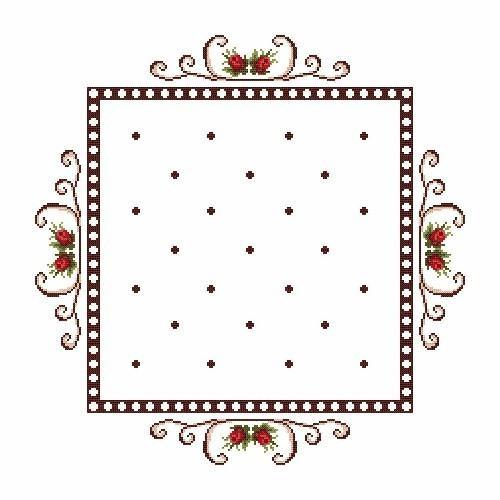Wzór graficzny - Serwetka - Różyczki - Haft krzyżykowy