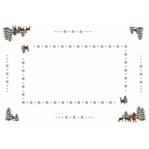 Wzór graficzny - Obrus - Sarny - Haft krzyżykowy