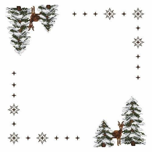 Wzór graficzny - Serwetka - Sarny - Haft krzyżykowy