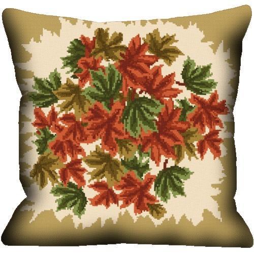 Wzór graficzny - Poduszka - Jesienne liście - Haft krzyżykowy