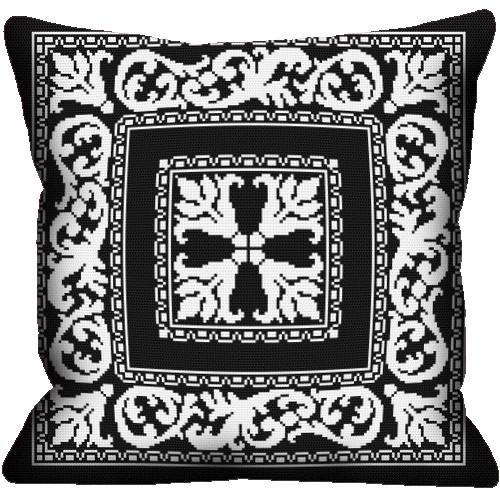 Wzór graficzny - Poduszka - Motyw barokowy - Haft krzyżykowy