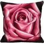 Wzór graficzny - Poduszka - Róża bordowa - Haft krzyżykowy