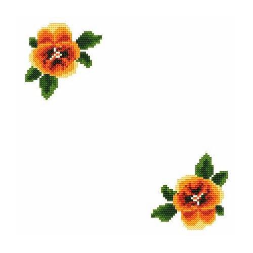 Wzór graficzny - Serwetka mała - Bratki - Haft krzyżykowy