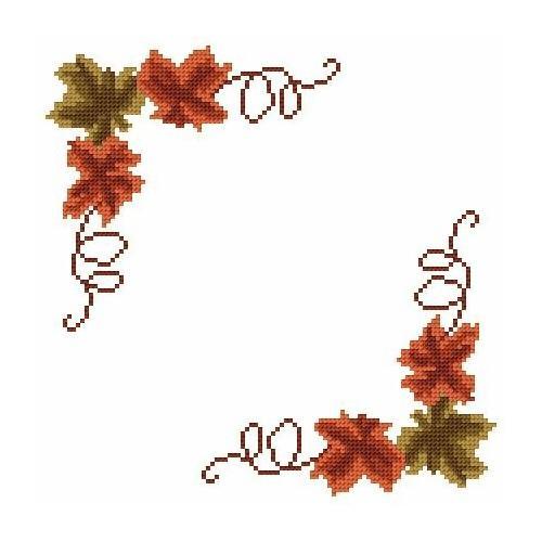 Wzór graficzny - Serwetka mała - Jesienne liście - Haft krzyżykowy