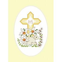 Wzór graficzny - Kartka wielkanocna - Baranek - Haft krzyżykowy