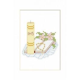 Wzór graficzny - Kartka komunijna - Świeca z książką - Haft krzyżykowy