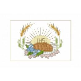Wzór graficzny - Kartka komunijna - Hostia i chleb - Haft krzyżykowy
