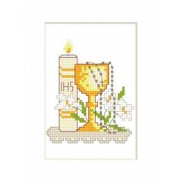 Wzór graficzny - Kartka komunijna - Świeca i kielich - Haft krzyżykowy