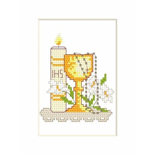 Poważne Wzór graficzny - Kartka komunijna - Świeca i kielich - Haft krzyżykowy HT56