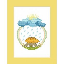 Wzór graficzny - Zajączki w deszczu - Haft krzyżykowy