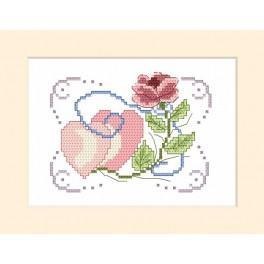 Wzór graficzny - Kartka ślubna - Róża i dwa serduszka - Haft krzyżykowy
